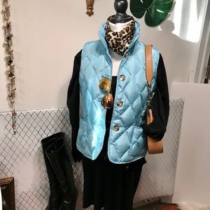 Talbots powder blue puffy vest with buttons!